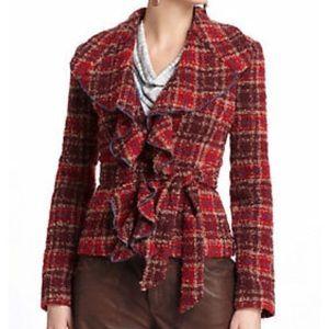 Anthropologie Tabitha Plaid Tweed Jacket Ruffles